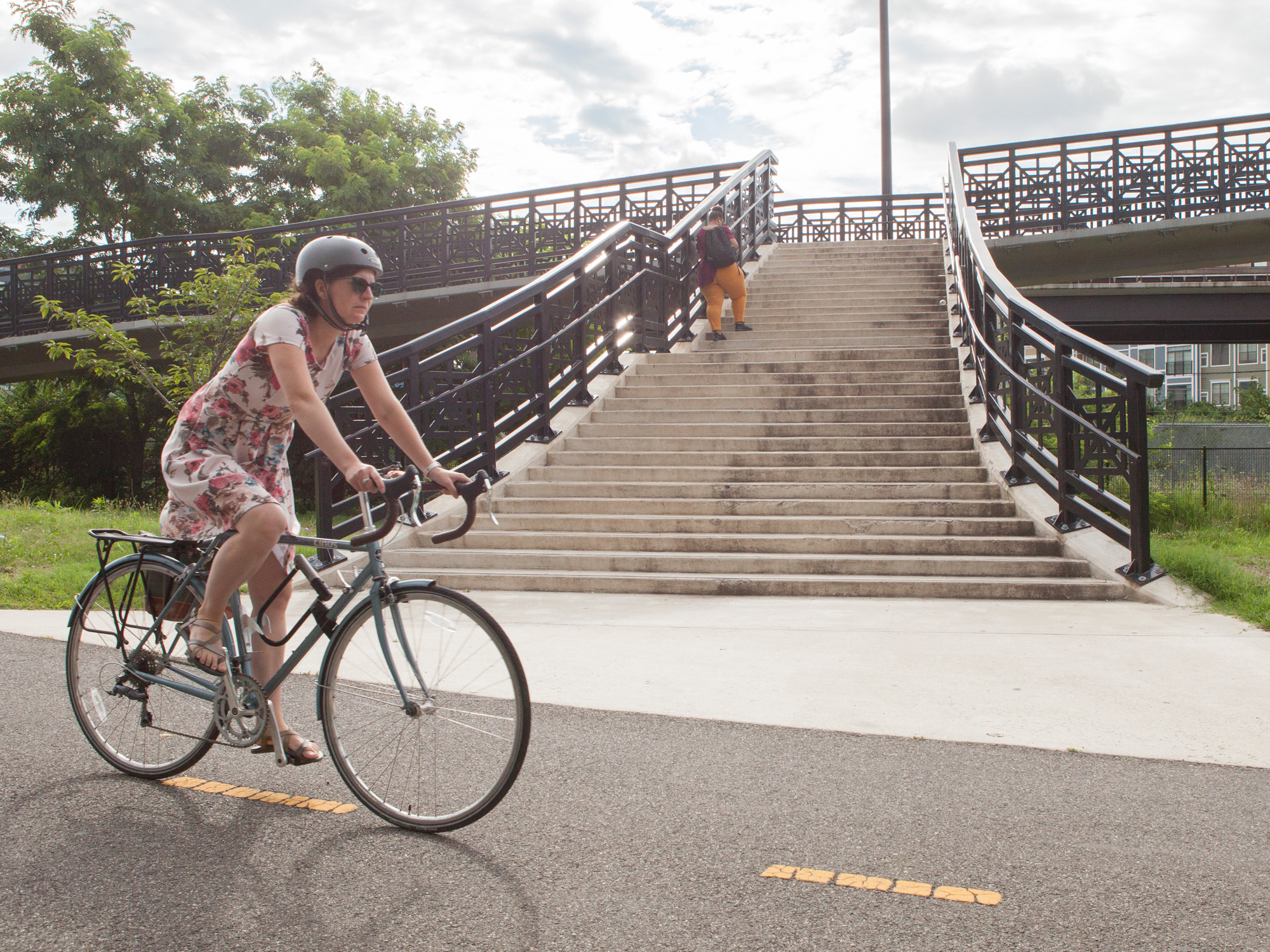 MBT woman biking near stairs